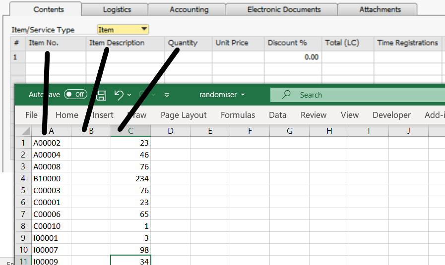 Copy and paste data from an Excel sheet into a SAP Business One record