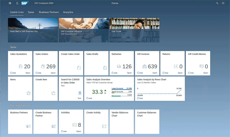 SAP Business One Version 10 screen